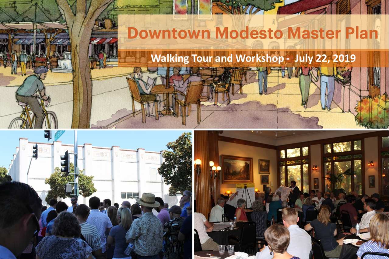 Side by side photos of downtown walking tour group, and visioning workshop group taken on July 22, 2