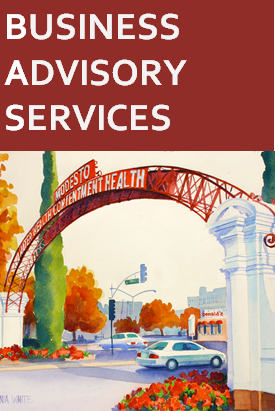 "image of modesto gateway arch with text ""business advisory services"""