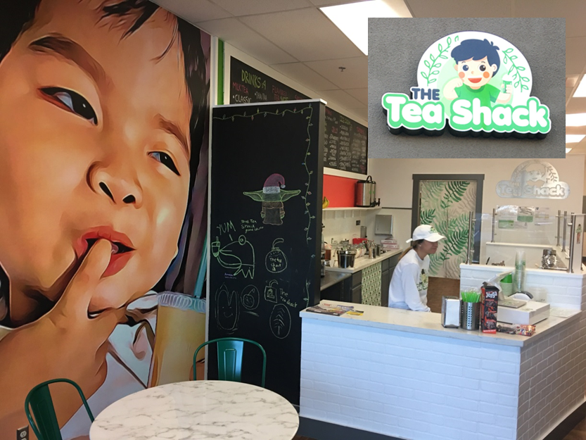 "photo of inside of tea shack store, with inset image of store logo with the text ""Tea Shack"""