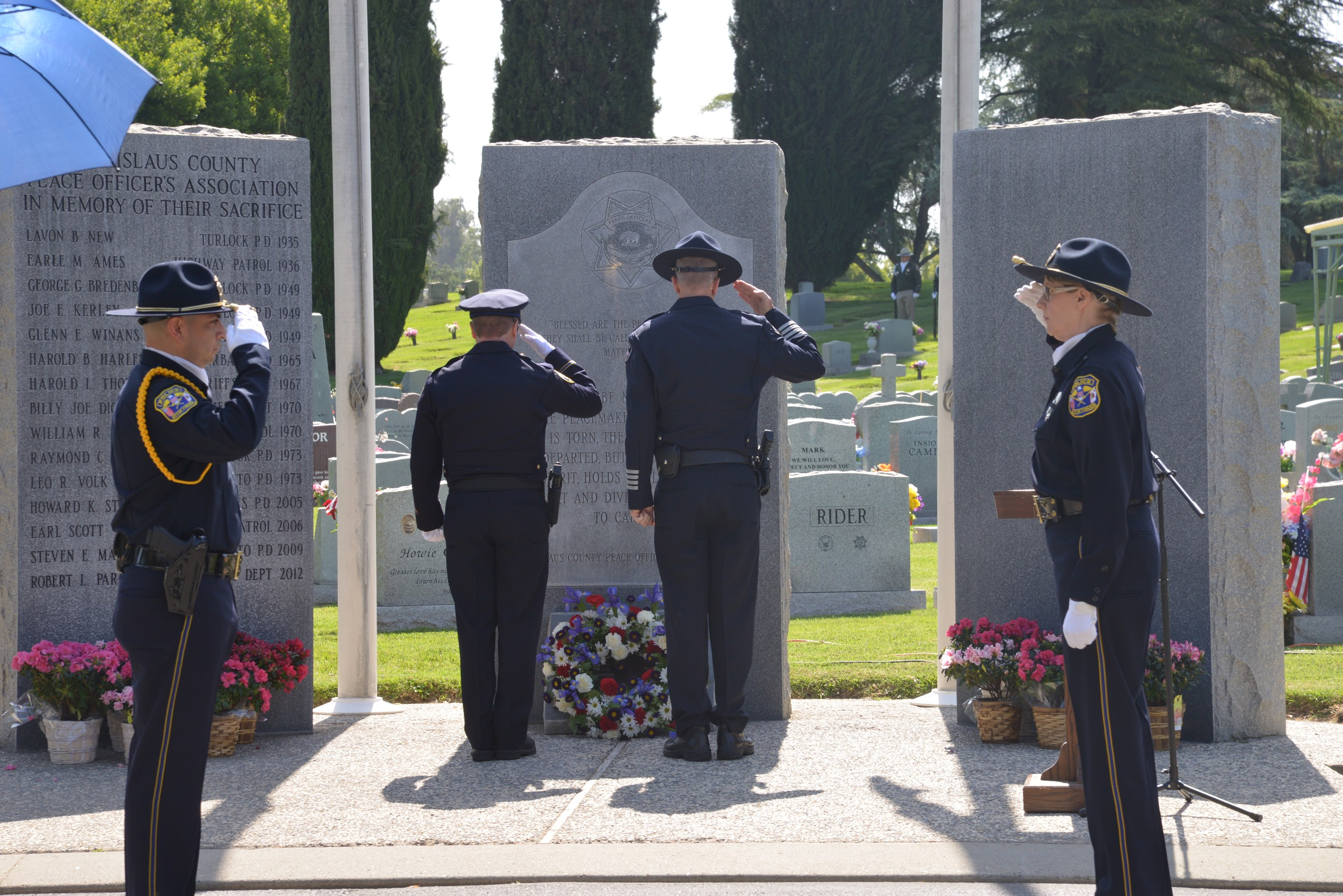 Officers Salute a Memorial for Their Fallen