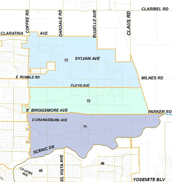 Map showing the beats and area outline for Modesto's northeast district.