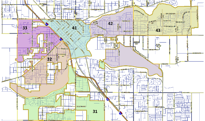 Map showing the beats and area outline for Modesto's south district.