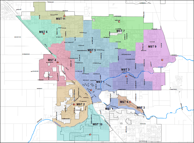 Map Displaying Modesto Regional Fire Authority Stations