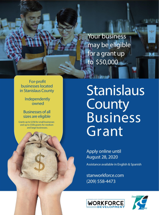 image of advertisement for stanislaus workforce business grant program up to $50,000.